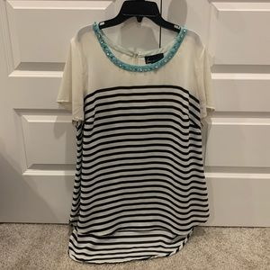 Striped Lane Bryant top with jeweled neckline